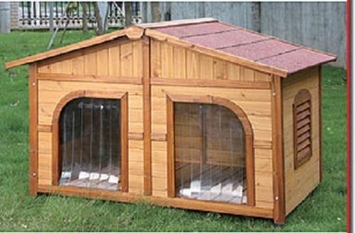 Cuccia doppia cani in legno athena duo idrorepellente cm for Recinto per cani taglia grande