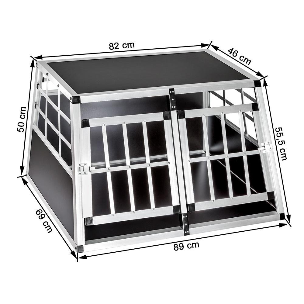 Trasportino doppio gabbia in alluminio per cani da auto for 2 box auto indipendenti