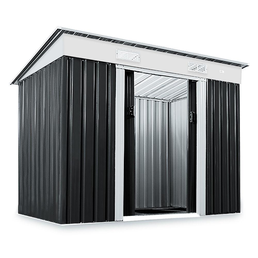 Capannone in metallo casetta portattrezzi giardino riparo for Piani di casa tetto in metallo