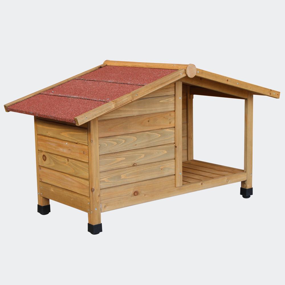 Cuccia per cani con veranda legno for Recinto cani fai da te