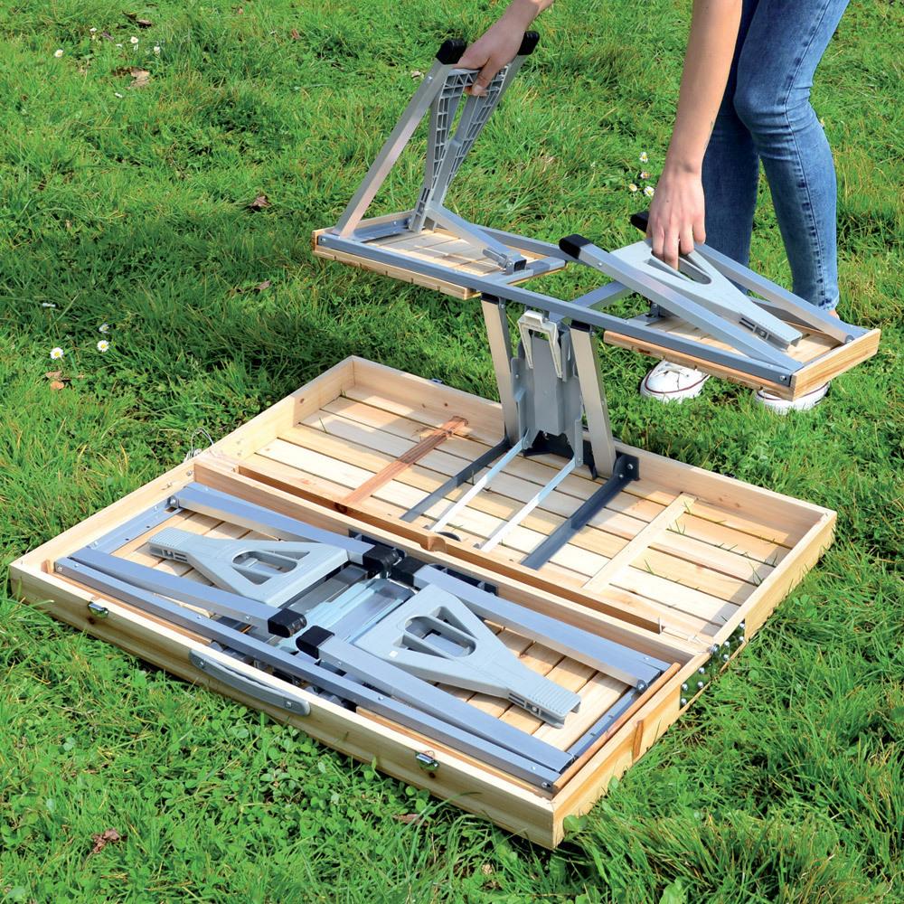 Tavolo con sedie pieghevole legno e alluminio - Tavolo in legno pieghevole ...