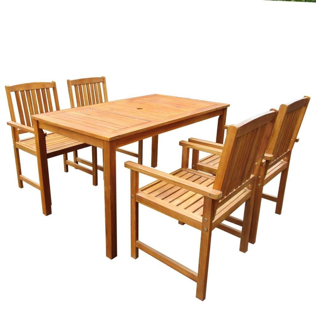 Tavoli E Sedie In Legno.Set Da Pranzo Tavolo E Sedie In Legno Massello In Acacia 5 Pz